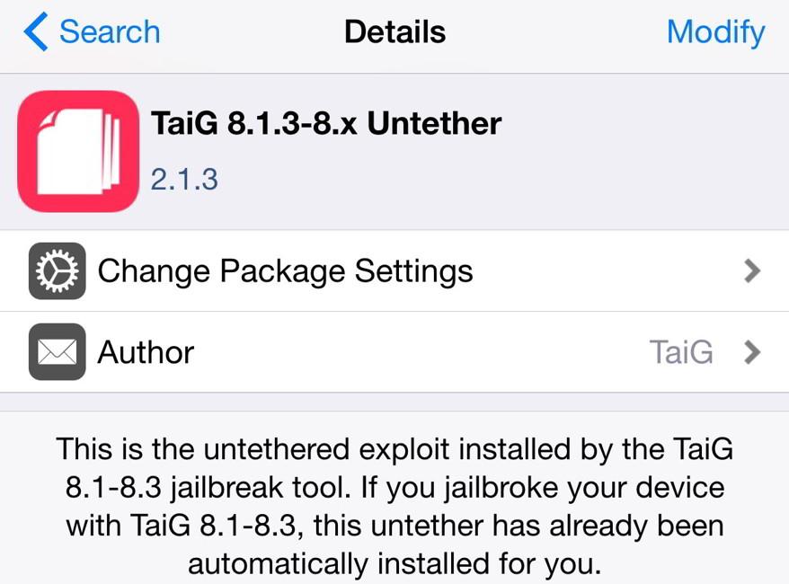 TaiG 8.1.3-8.x Untether