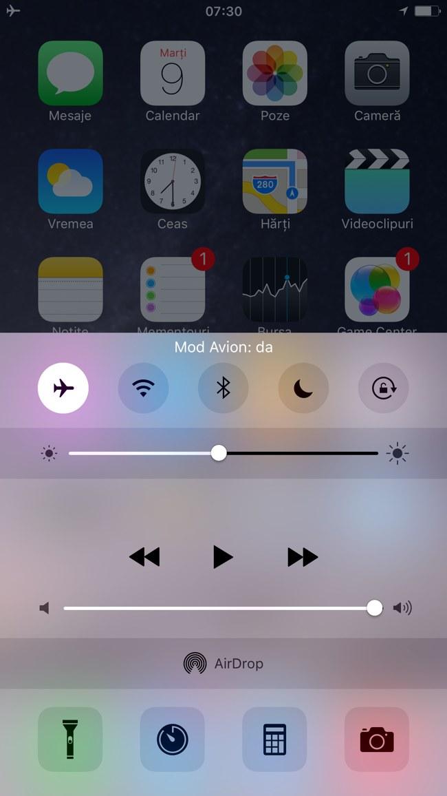 iOS 9 Centru Control confirmare comanda