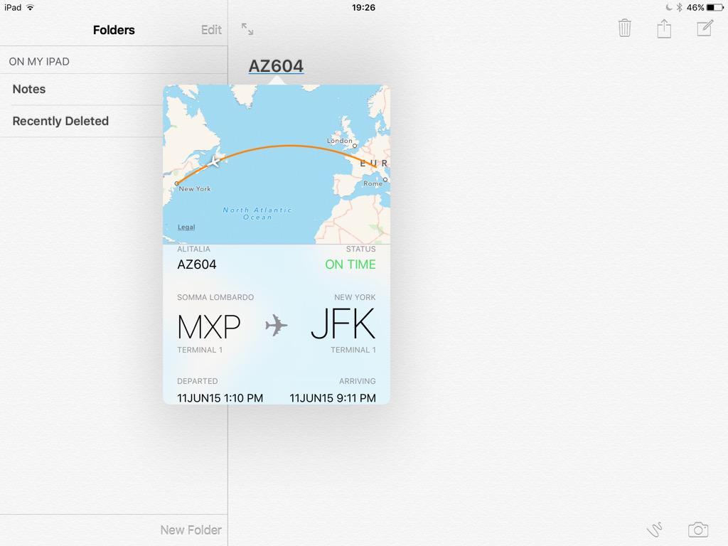 iOS 9 Notite informatii zbor aerian iPad
