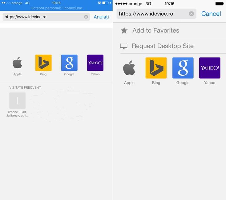 iOS 9 Safari vizualizare desktop