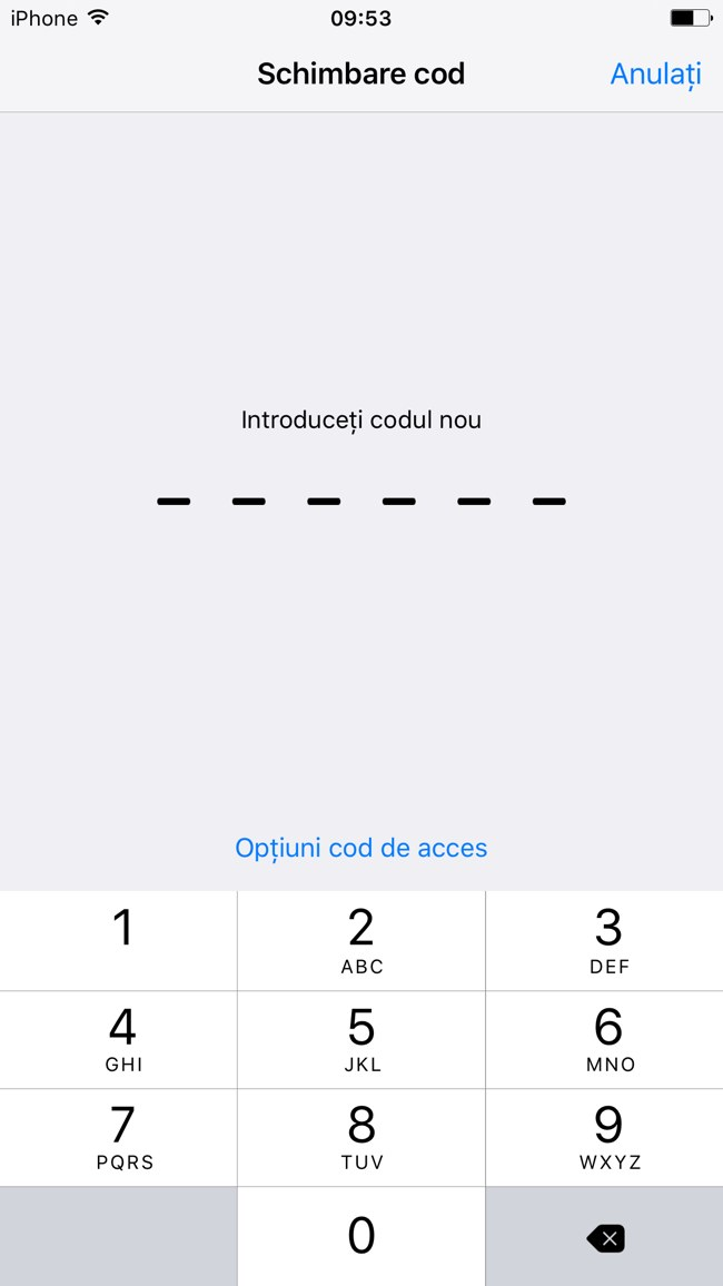 iOS 9 cod de blocare 6 cifre