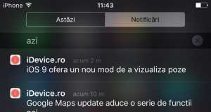 iOS 9 notificari Centru de Notificari