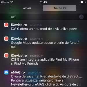 iOS 9 notificari Centru de Notificari