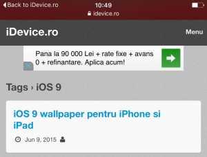 iOS 9 revenire aplicatii