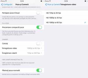 iOS 9 rezolutie inregistrare video