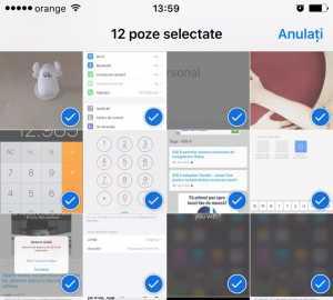 iOS 9 selectare poze gest