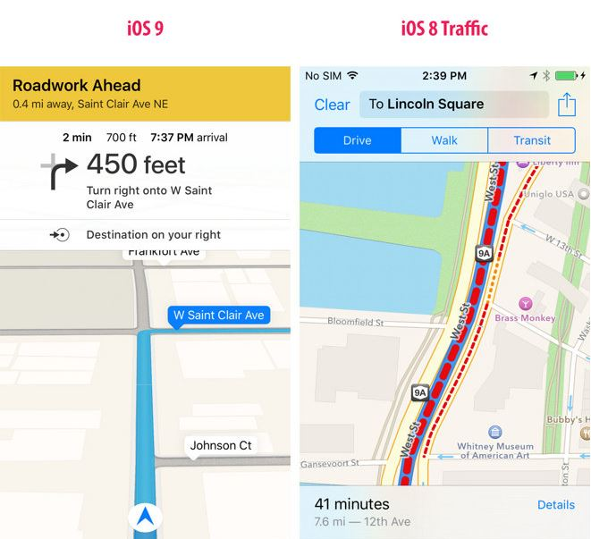iOS 9 trafic Apple Maps