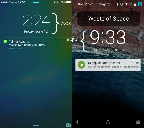 iOS 9 vs Android M spatiu irosit ecran 3