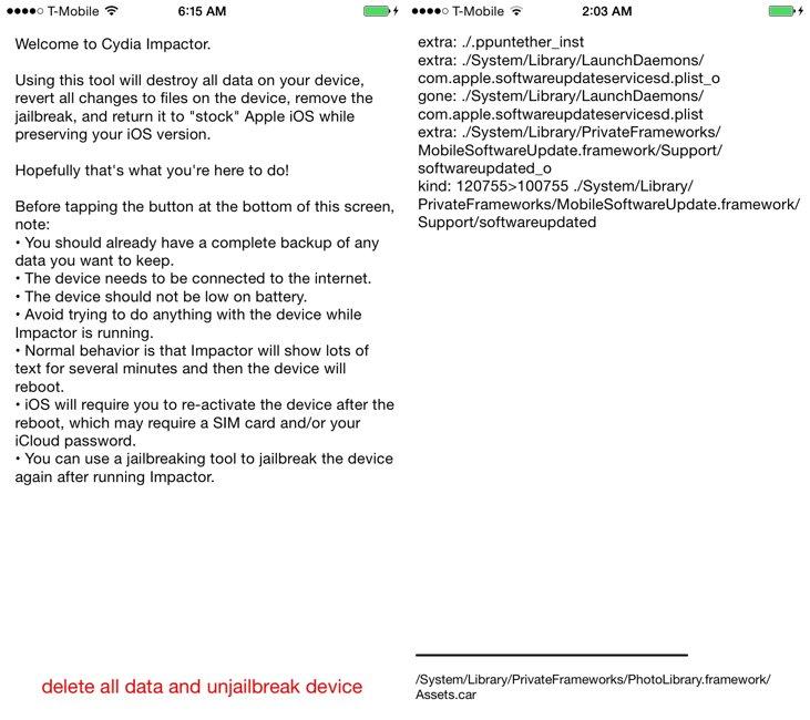 Cydia Impactor dezinstalare jailbreak