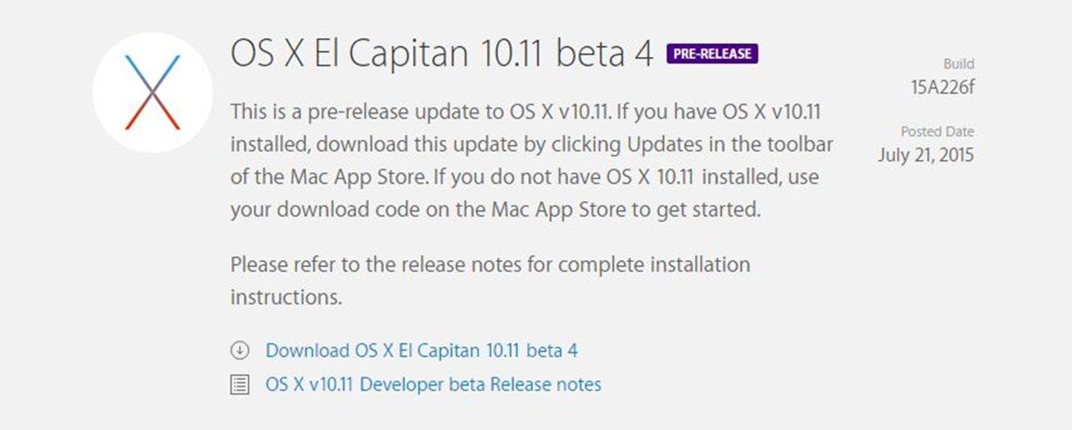 OS X El Capitan 10.11 beta 4