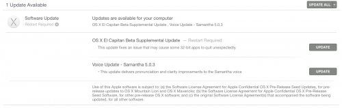 OS X El Capitan Supplemental Update