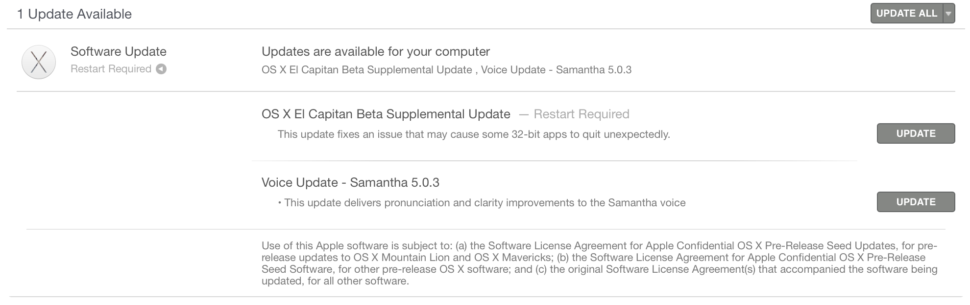 OS X El Capitan Supplemental Update