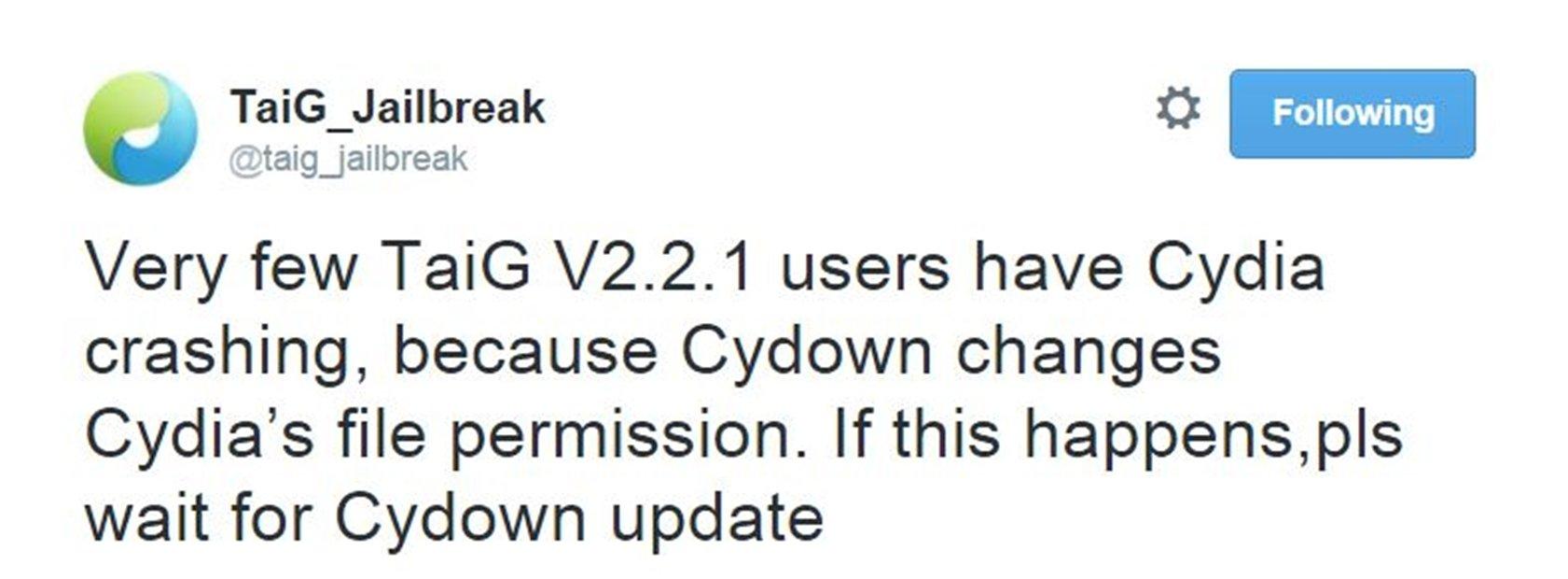TaiG 2.2.1 problema Cydia