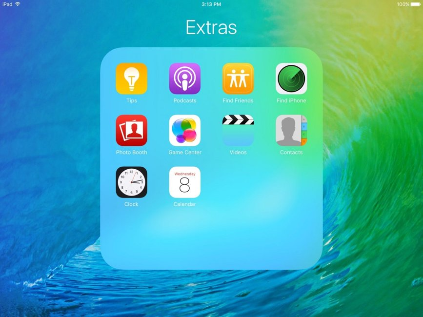 iOS 9 beta 3 aplicatii folder