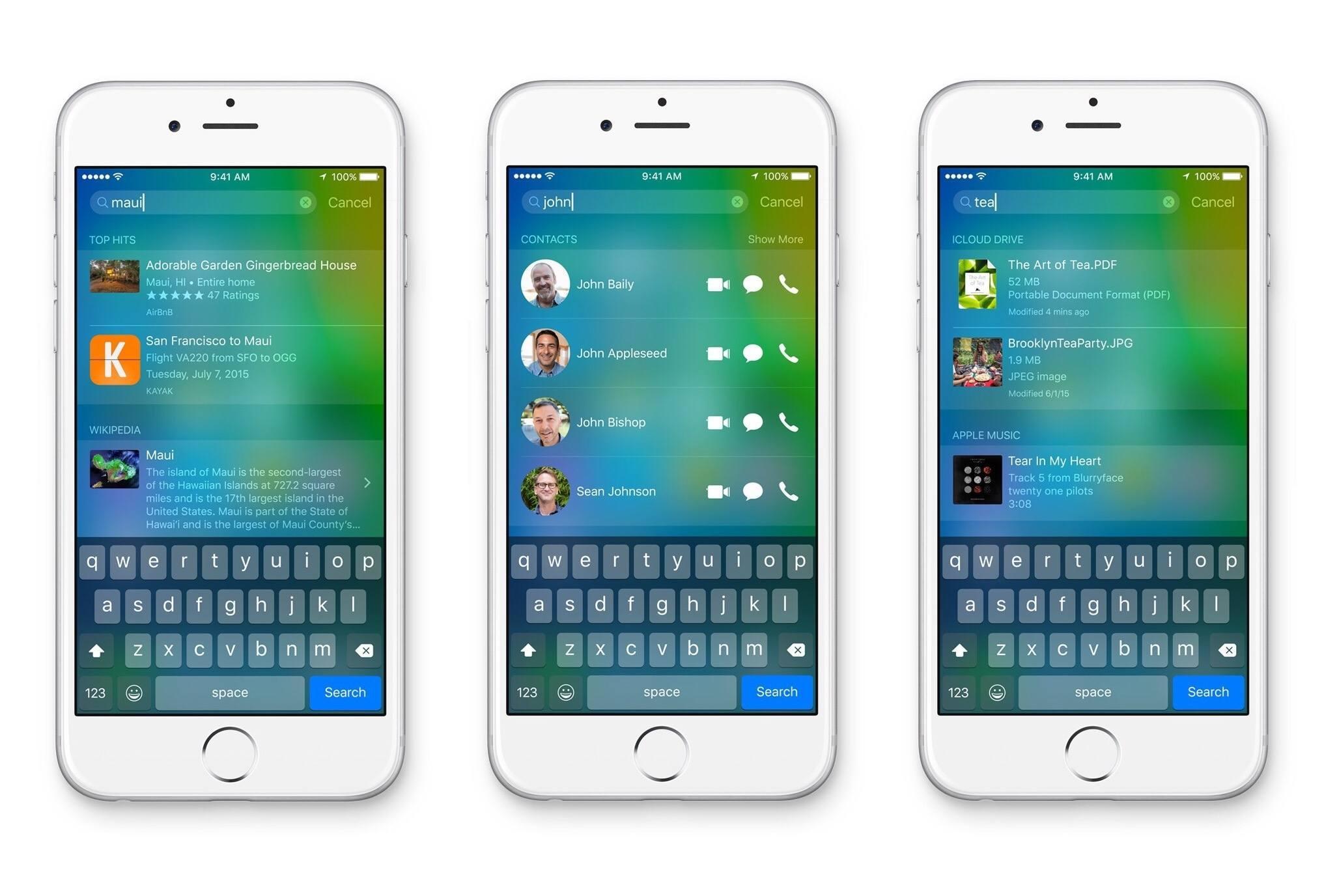 iOS 9 sugestii aplicatii