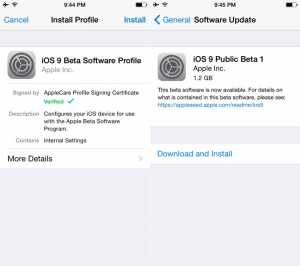 instalare iOS 9 public beta