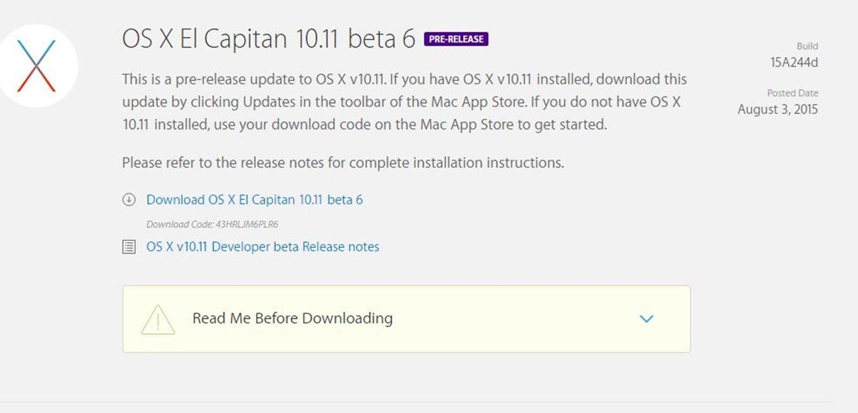 OS X El Capitan 10.11 beta 6