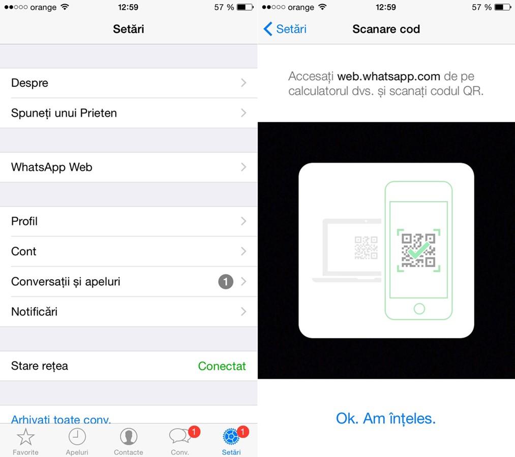 activare WhatsApp Web pe iPhone WhatsApp Messenger