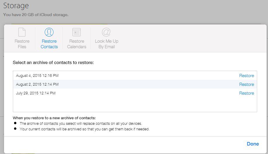 iCloud restaure contacte fisiere 1