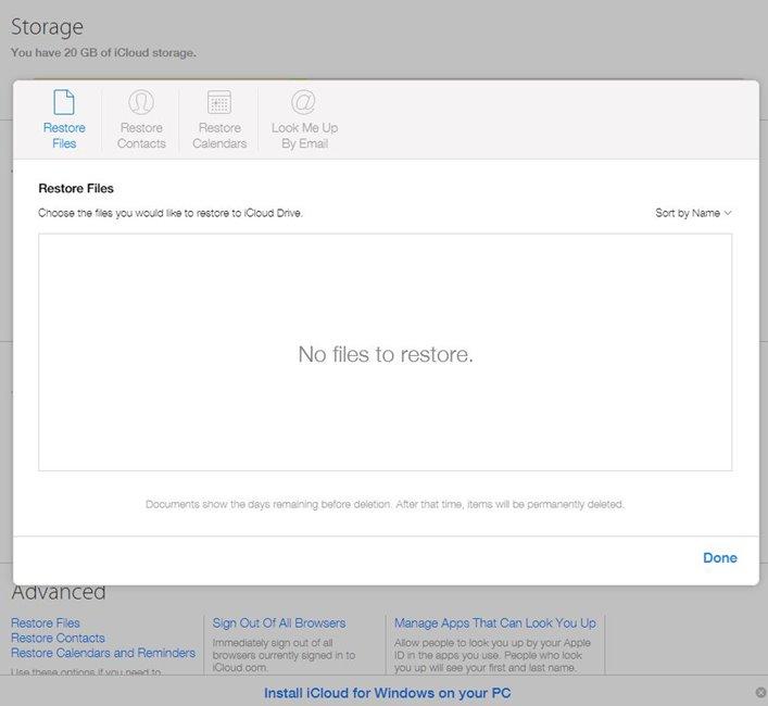 iCloud restaure contacte fisiere