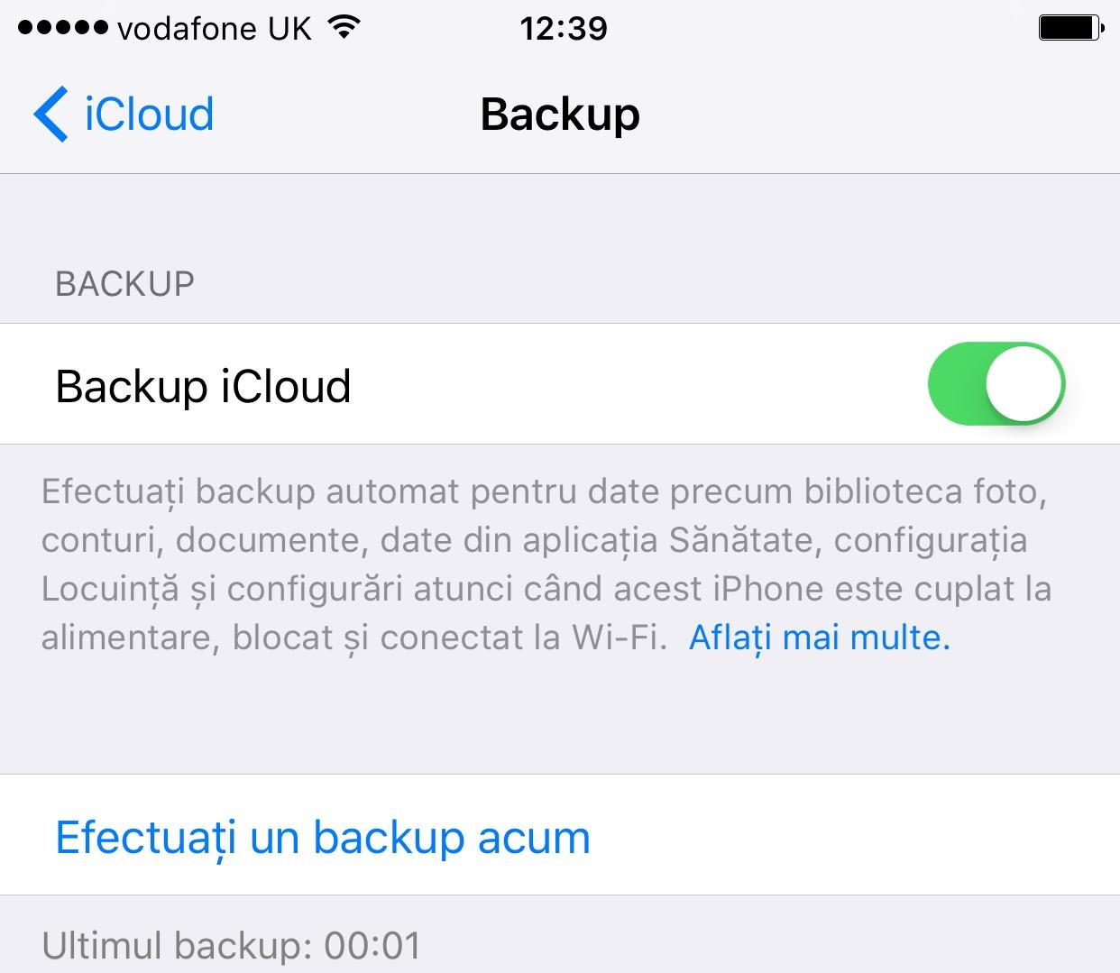 Backup iCloud iOS 9