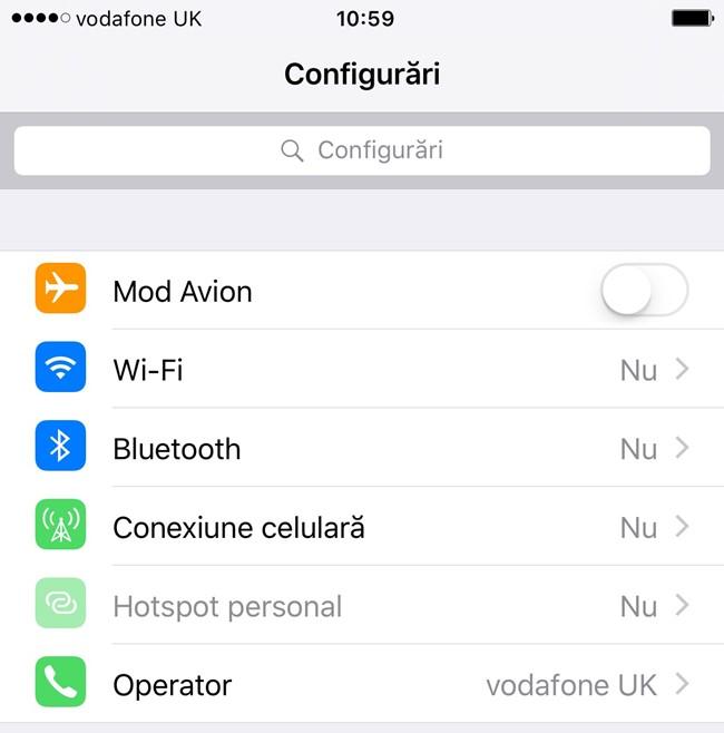 Cautare setari iOS 9