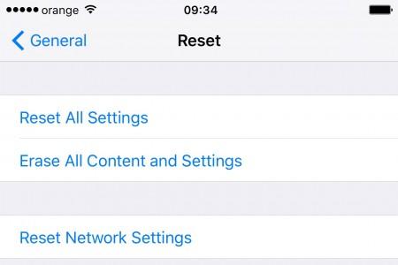 Resetare setari de retea iOS 9