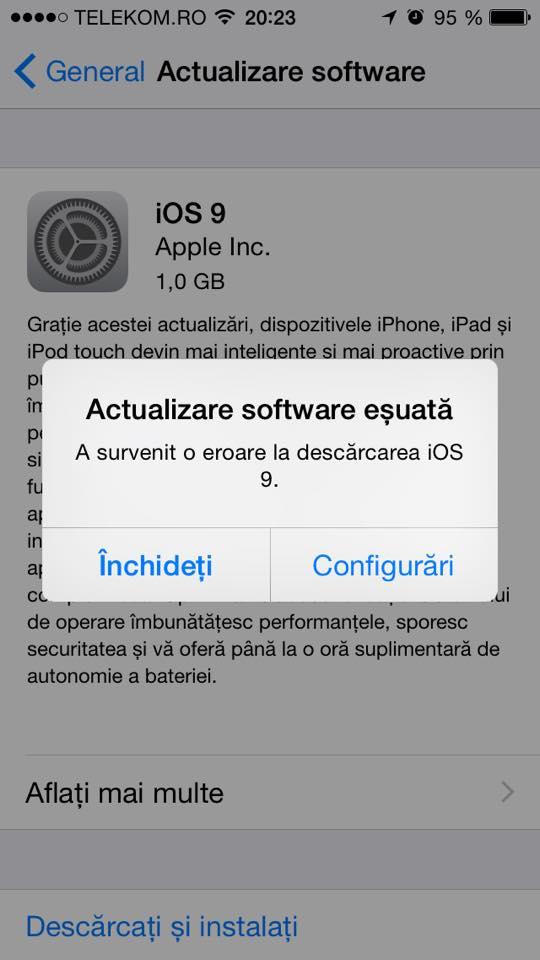 eroare instalare iOS 9