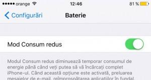 iOS 9 Mod Consum Redus