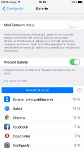 iOS 9 aplicatii care consuma baterie