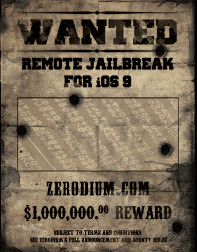 1 milion de dolari pentru iOS 9 jailbreak