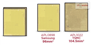 procesor chip A9 iPhone 6S marime diferita