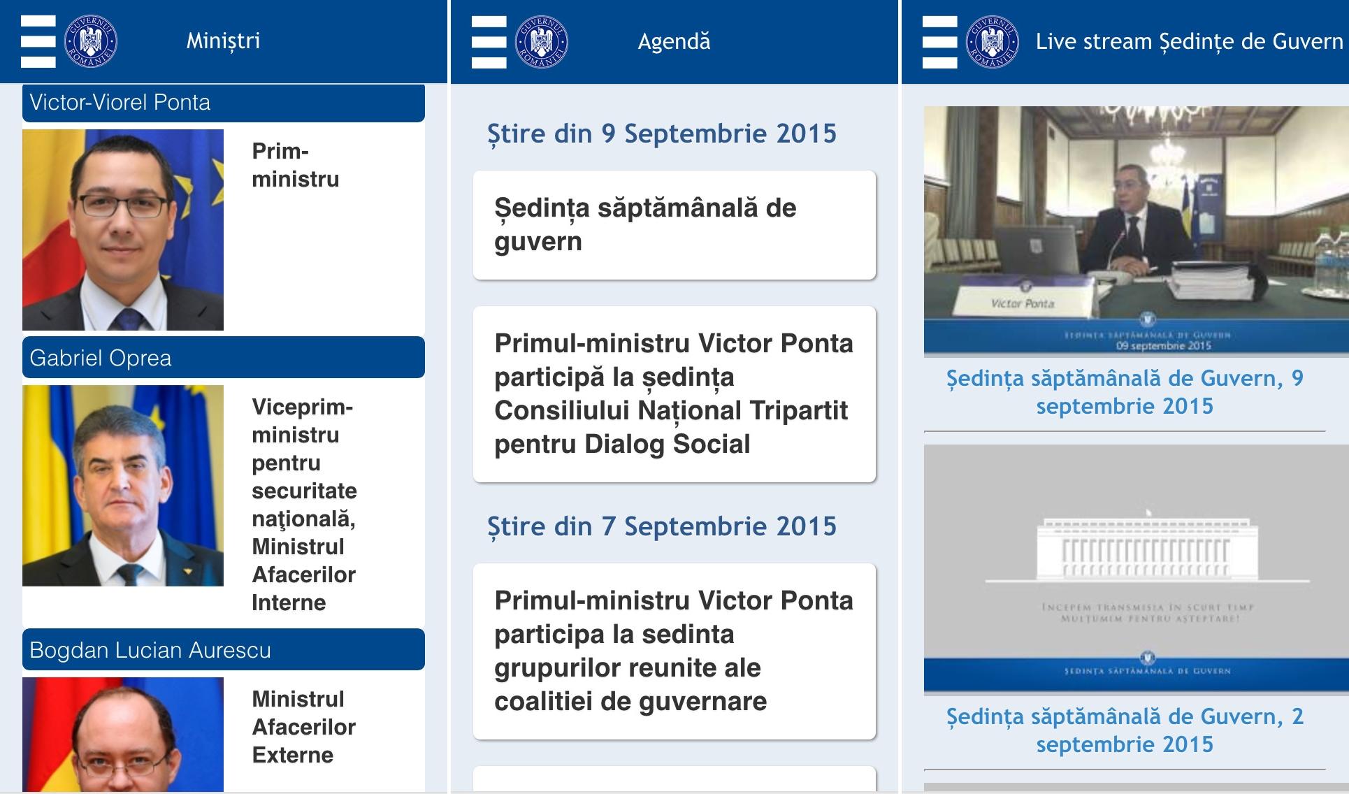 Aplicatia Guvernul Romaniei pentru iPhone si iPad