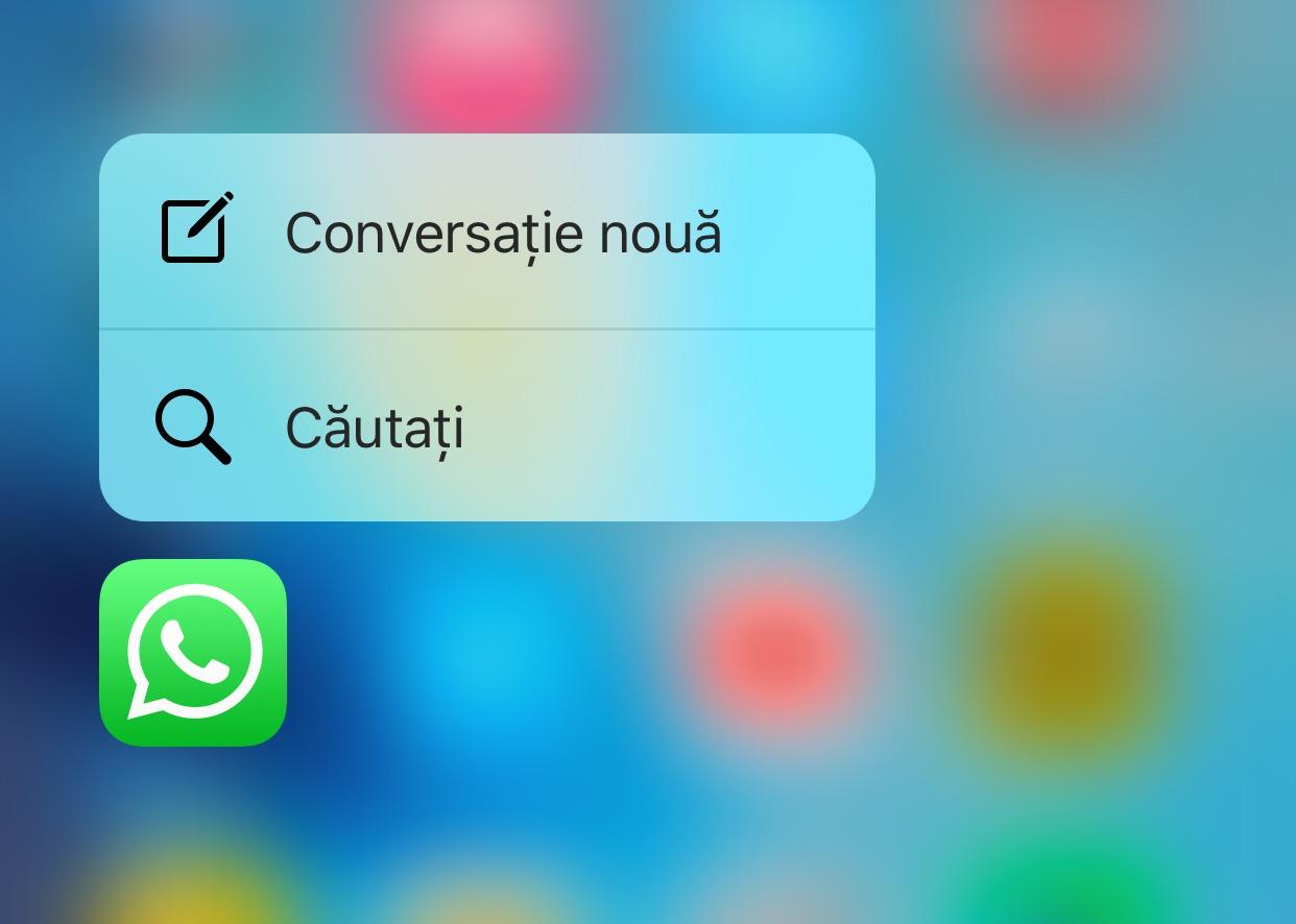 Ce face 3D Touch pe WhatsApp Messenger