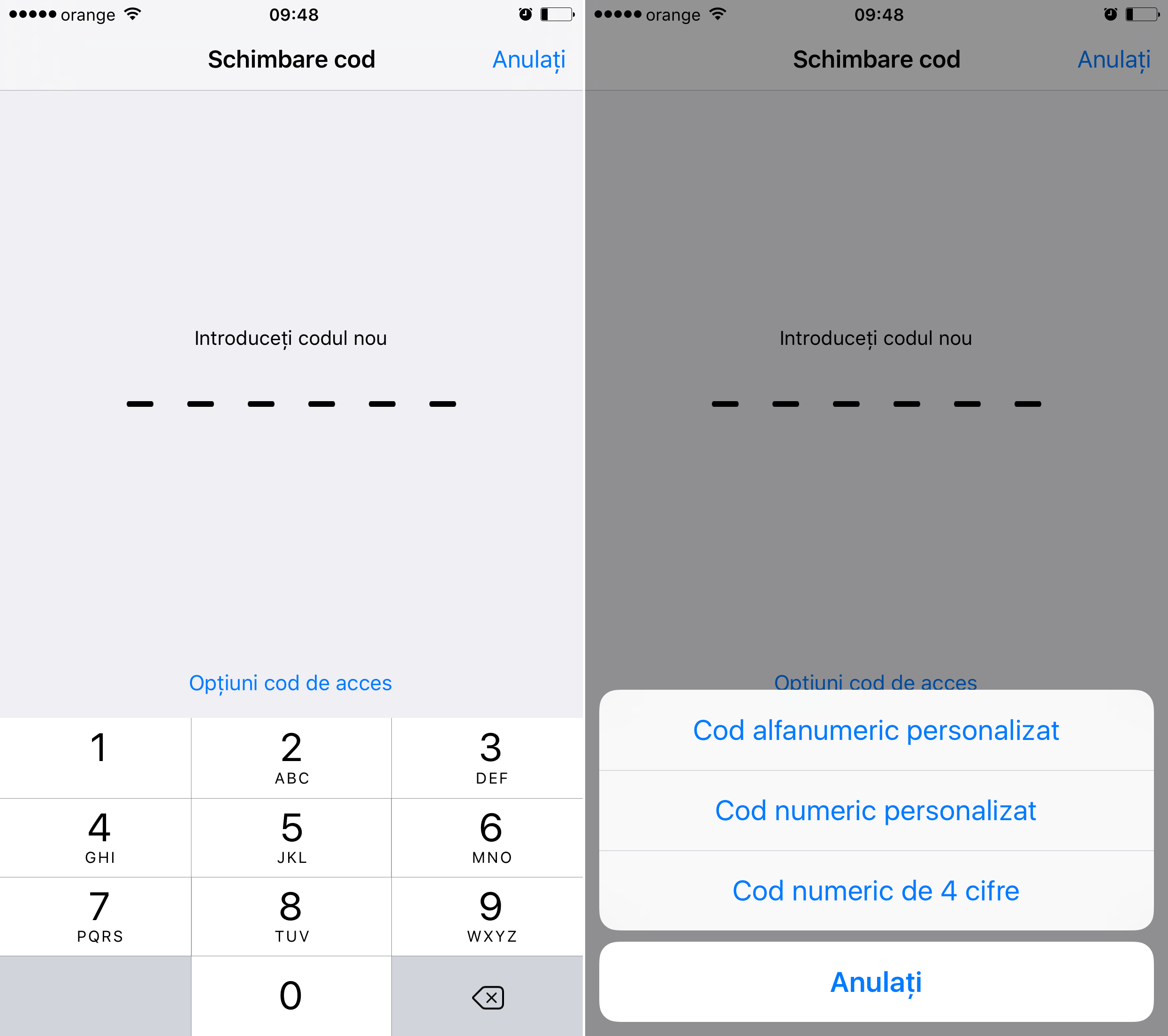 Cum setez cod de siguranta 4 cifre iOS 9 2