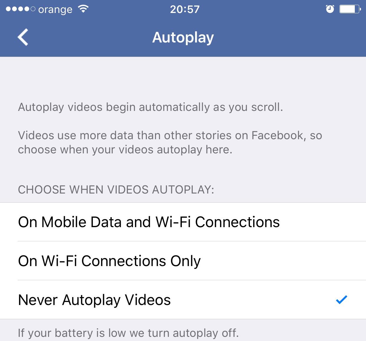 dezactivezi redare automata video Facebook auto-play