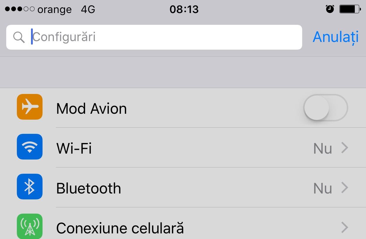 iOS 9 cautari setari