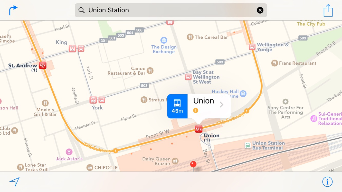 iOS 9 rute transport in comun