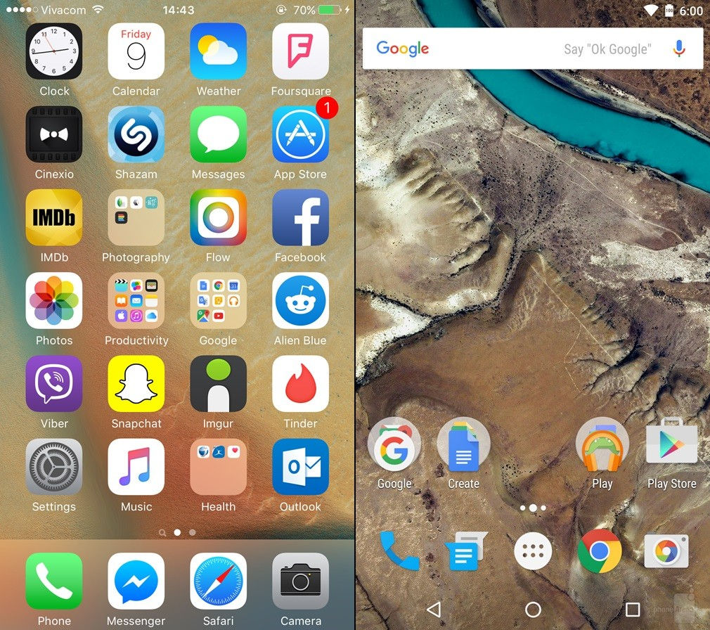 iOS 9 vs Android 6 Marshmallow - comparatie design 1