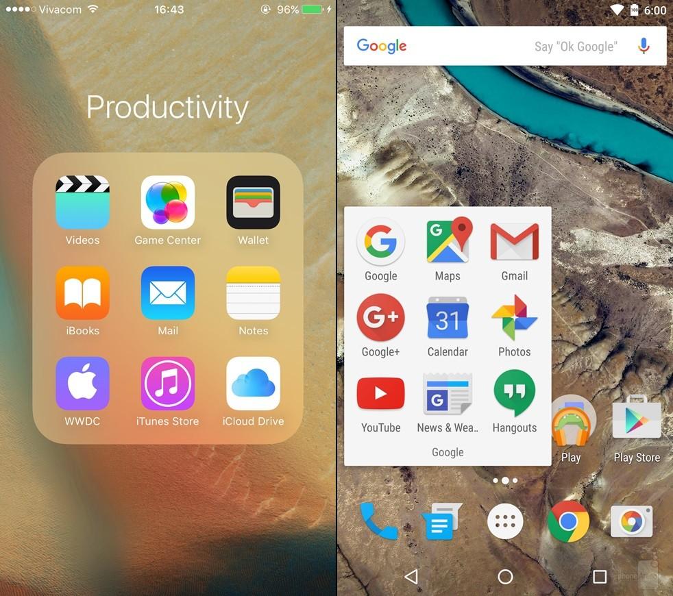 iOS 9 vs Android 6 Marshmallow - comparatie design 8