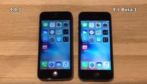 iOS 9.0.2 vs iOS 9.1 beta 3 pe iPhone 5 si iPhone 4S