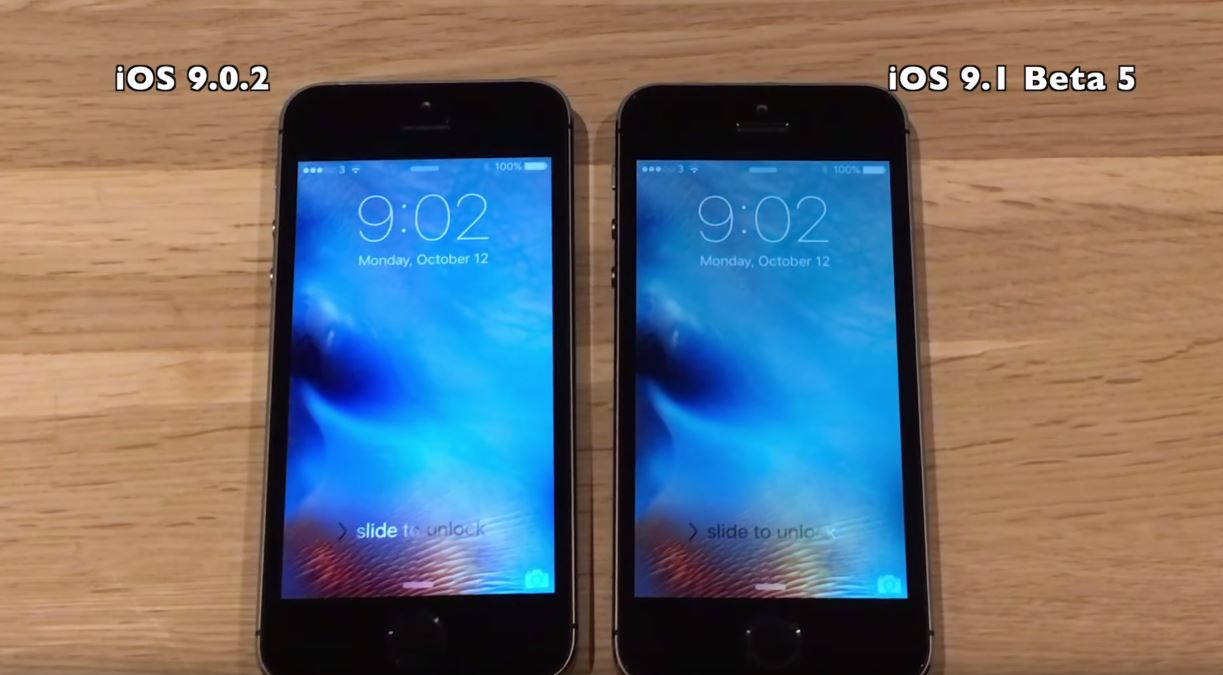 iOS 9.1 beta 5 vs iOS 9.0.2 pe iPhone 5S, 5, 4S - comparatia performantelor