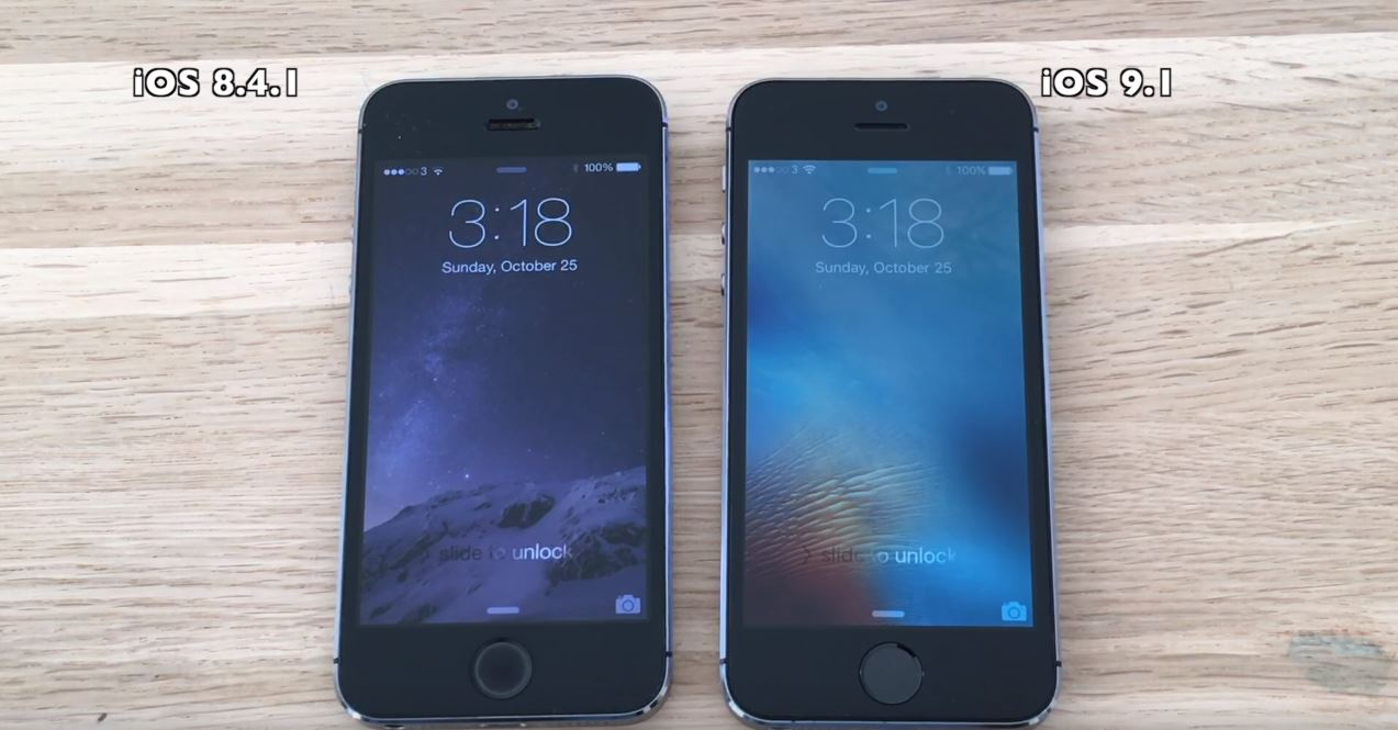 iOS 9.1 vs iOS 8.4.1 pe iPhone 5S, iPhone 5, iPhone 4S