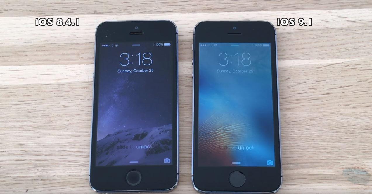 iOS 9.1 vs iOS 8.4.1 pe iPhone 5S, iPhone 5, iPhone 4S