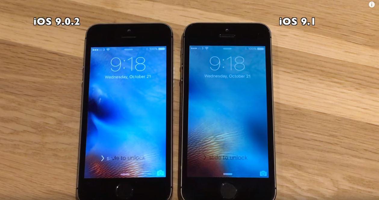 iOS 9.1 vs iOS 9.0.2 iPhone 5S, 5, 4S test performante