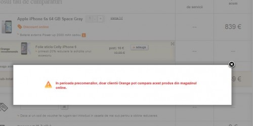 orange vinde iPhone 6S doar clientilor