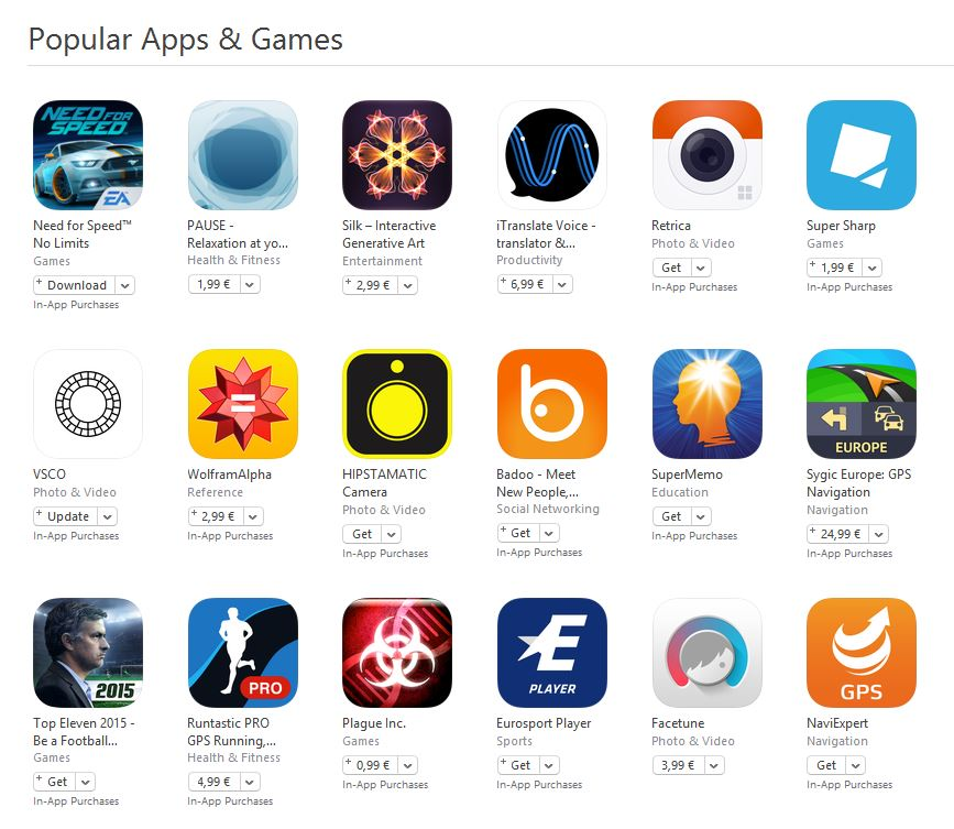 popular apps and games
