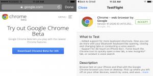 Google Chrome iOS beta