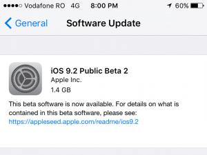 Instaleaza iOS 9.2 public beta 2