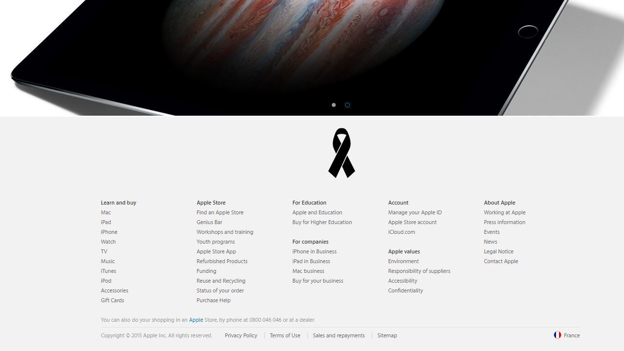 victimele atentatelor Paris comemorate Apple
